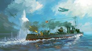 Обои Корабли Рисованные Самолеты Американские Стрельба Clemson-class destroyer of the US Asiatic fleet repels Japanese attack on 28th December, 1941.