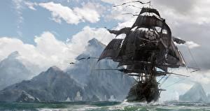 Картинка Корабли Парусные Пираты Skull and Bones