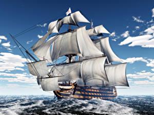 Фото Корабли Парусные Море 3D Графика