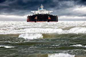 Фотография Корабли Танкер Море Волны