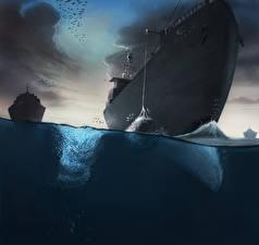 Фотографии Корабль Вода Рисованные Fishing