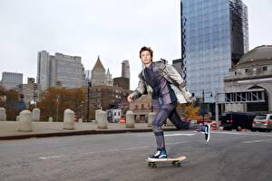 Фотография Скейтборд Мужчины Улиц Ansel Elgort, Sophie Elgort, DuJour Города Знаменитости
