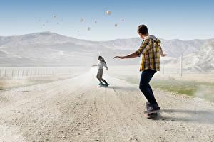 Фото Скейтборд Дороги Два Парень спортивный Девушки
