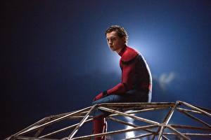 Фото Человек-паук: Возвращение домой Человек паук герой Герои комиксов Мужчины Сидящие Tom Holland Знаменитости