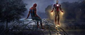 Обои для рабочего стола Человек-паук: Возвращение домой Человек паук герой Супергерои Железный человек герой Вдвоем Фильмы
