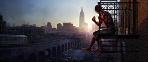 Картинки Человек-паук: Возвращение домой Человек паук герой Герои комиксов Балкон Сидит Фильмы