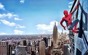 Картинка Человек-паук: Возвращение домой Человек паук герой Герои комиксов Нью-Йорк Кино