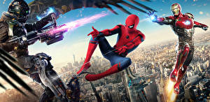 Обои Человек-паук: Возвращение домой Человек паук герой Супергерои Железный человек Стреляет Vulture Фильмы