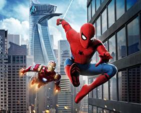 Картинки Человек-паук: Возвращение домой Человек паук герой Железный человек герой кино