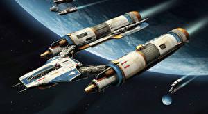 Фотография Star Wars Battlefront 2015 Звездолёт V-WING, Heavy Bomber компьютерная игра 3D_Графика Космос