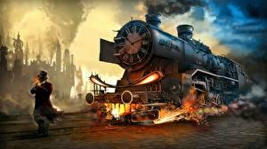 Картинка Стимпанк Поезда Мужчины Фэнтези