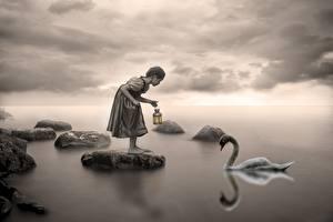 Картинка Лебеди Камень Девочки Черно белое Ребёнок
