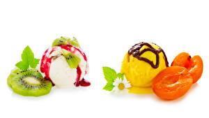 Картинка Сладости Мороженое Киви Персики Ромашки Белый фон Шар Пища