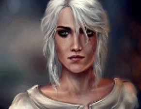 Картинка Ведьмак 3: Дикая Охота Блондинка Взгляд Лицо Cirilla Девушки