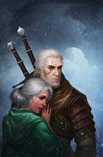 Картинки The Witcher 3: Wild Hunt Мужчины Геральт из Ривии 2 Ciri Девушки Фэнтези
