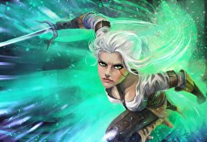Фотография Ведьмак 3: Дикая Охота Воины Блондинка Фан АРТ Cirilla Игры