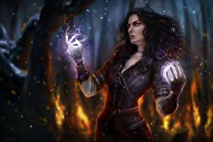 Фотография The Witcher Магия Yennefer Фэнтези Девушки
