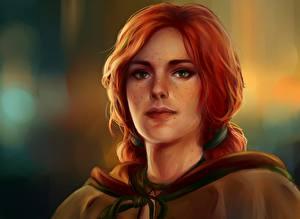 Фотография Ведьмак Рыжая Лицо Triss Merigold Девушки