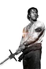 Картинка Трансформеры: Последний рыцарь Мужчина Mark Wahlberg Мечи Белым фоном Черно белое Cade Yeager Фильмы Знаменитости