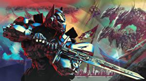 Фотографии Трансформеры: Последний рыцарь Робот Мечи Optimus Prime Фильмы Фэнтези