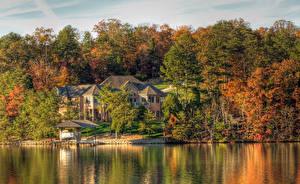 Картинка Штаты Озеро Здания Осенние HDRI Деревья Tellico Lake Tennessee Природа