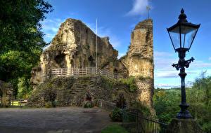 Фотографии Великобритания Замки Руины Уличные фонари Ограда Knaresborough Castle North Yorkshire