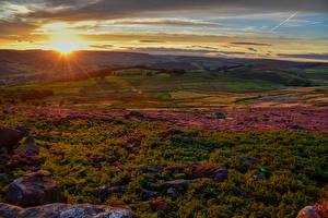 Фотография Великобритания Пейзаж Рассветы и закаты Поля Derbyshire Природа