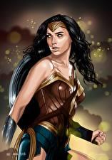 Картинки Чудо-женщина герой Чудо-женщина (фильм) Галь Гадот Рисованные Воины Знаменитости Девушки