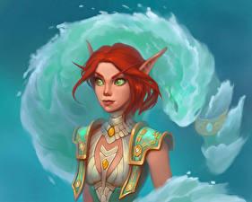 Картинки WoW Эльфы Рыжая Blood elf Игры Фэнтези Девушки