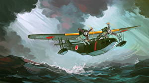 Картинка Самолеты Рисованные Гидроплан Японские Взлет Aichi H9A Авиация
