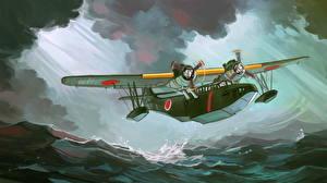 Картинка Самолеты Рисованные Гидроплан Японская Взлетают Aichi H9A Авиация