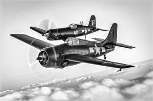 Обои Самолеты Рисованные Бомбардировщик Черно белое Американские FM-2 Wildcat, F4U-7 Авиация