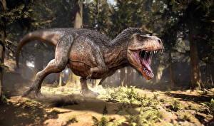 Картинка Древние животные Динозавры Тираннозавр рекс Злость Животные 3D_Графика