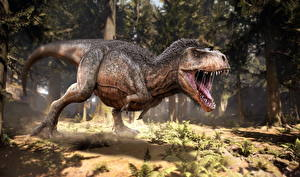 Картинка Древние животные Динозавры Тираннозавр рекс Оскал Животные 3D_Графика