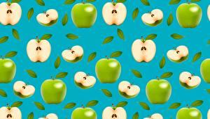 Картинка Яблоки Текстура Зеленый Еда