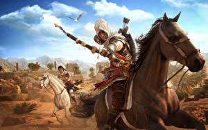 Фотографии Assassin's Creed Origins Воины Лучники Лошади Игры