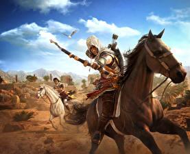 Фотографии Assassin's Creed Origins Воители Лучники Лошади Лук оружие Игры
