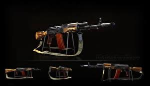 Фотографии Автоматы Русские Черный фон AK 74 AK-74N, Kalashnikov