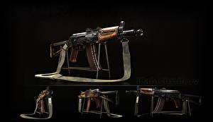 Обои Автоматы Черный фон Российские AK 74 AKS-74U, Kalashnikov