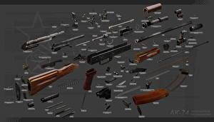 Фотография Автоматы AK 74 Российские Fully disassembled