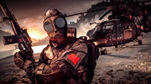 Фотография Battlefield 4 Солдаты Автоматы Противогаз Китайские Игры