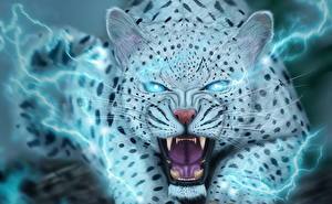 Картинка Большие кошки Клыки Ирбис Злость Смотрит Фантастика