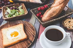 Картинки Хлеб Кофе Яичница Завтрак