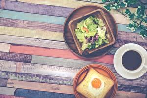 Картинки Хлеб Кофе Салаты Завтрак Яичница Доски Еда