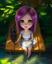 Картинка Коты Смотрит Сидящие Девочки Фантастика Дети
