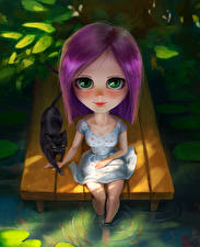 Картинка Коты Взгляд Сидит Девочки Фантастика Дети
