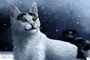 Фотография Коты Рисованные Ночные Смотрит