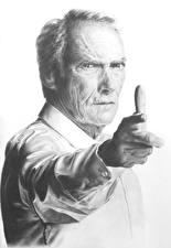 Фотография Clint Eastwood Черно белое Белый фон Взгляд Руки Знаменитости