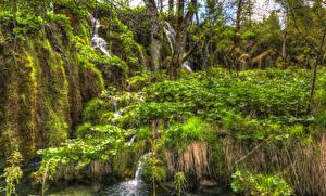 Картинка Хорватия Парки Водопады HDRI Plitvice national park Природа