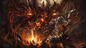 Картинки Diablo Воины Монстр С топором Arthas, Barbarian компьютерная игра Фэнтези